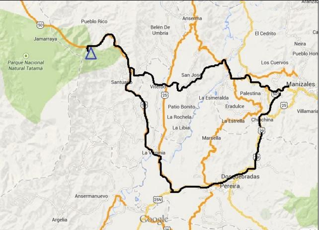 Mapa de Ruta a Tatama desde Manizales