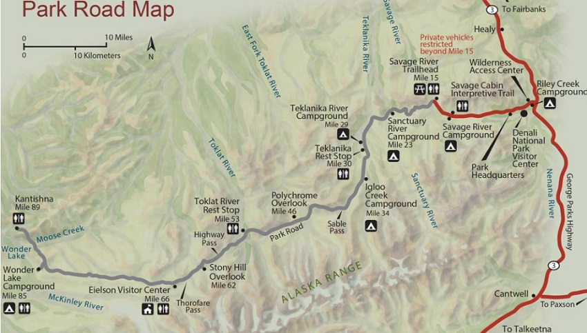 Park Road Map - Denali National Park