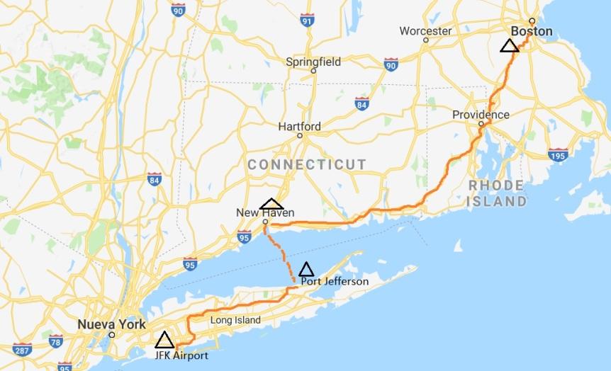 Mapa de Ruta: New Yok hacia Boston. 230 millas.